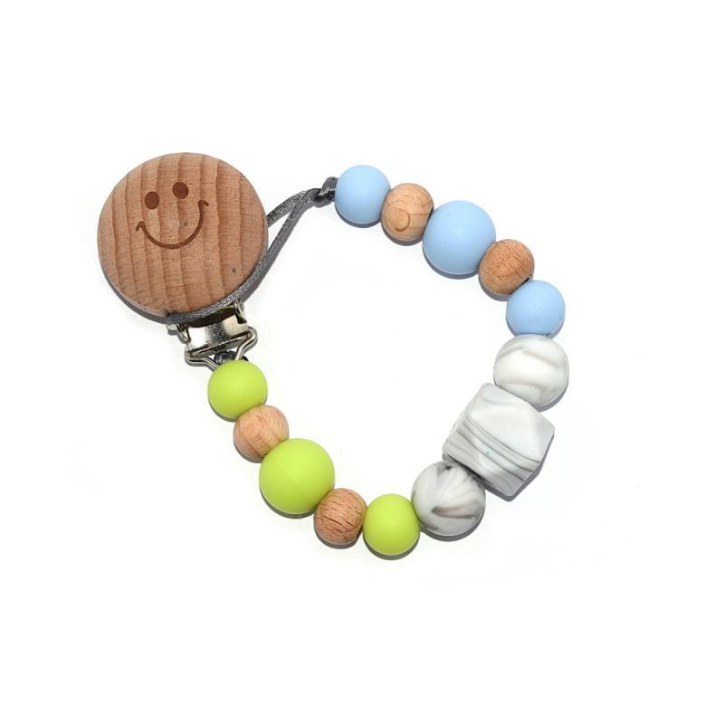 Attache t tine perle bois et silicone bicolor marbr sucettes et t tines creavea - Perle attache tetine ...