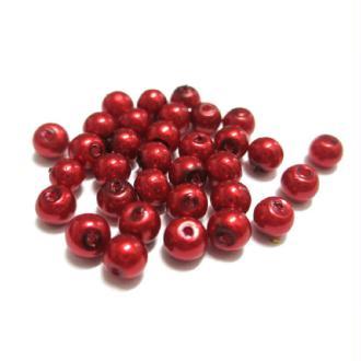 50 Perles Nacré Ronde En Verre Couleur Rouge