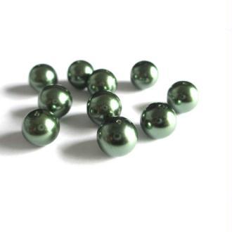 80 Perles Nacré Ronde En Verre Couleur Vert Foncé