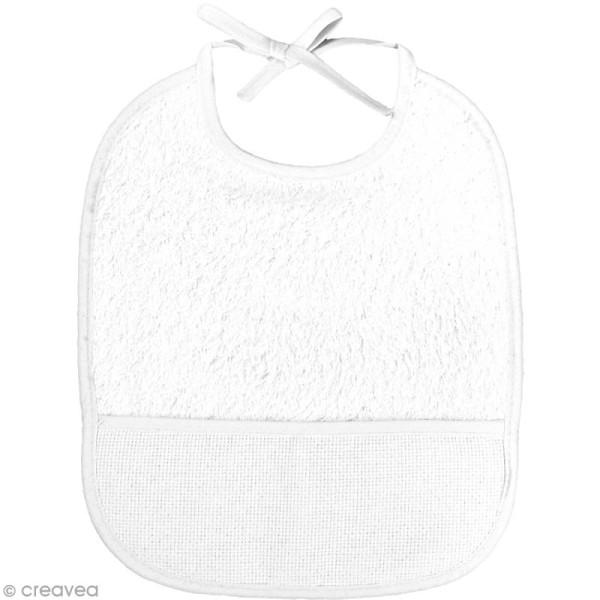 Bavoir à broder au point de croix - Blanc - 3 mois - 24 x 21 cm - Photo n°1