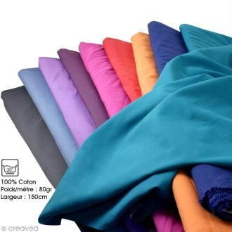 Tissu Frou Frou coton uni - A la coupe par 10 cm (sur mesure)