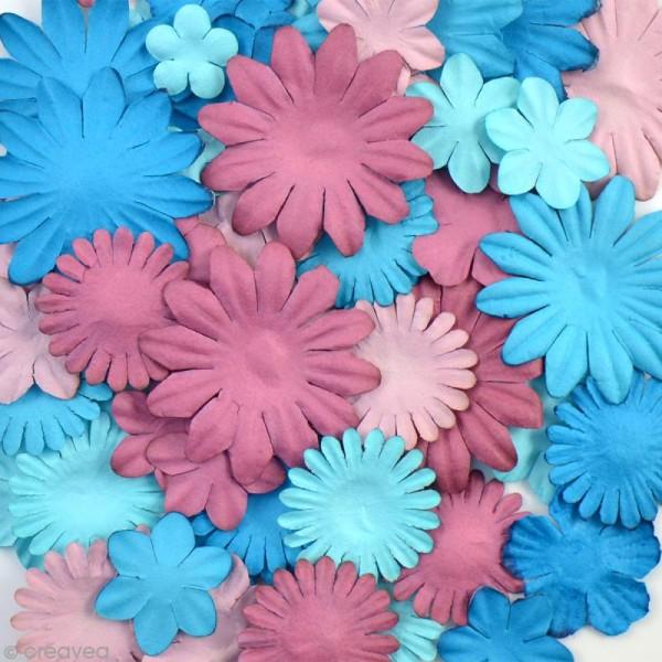 Assortiment de fleurs en papier - Bleu et aubergine - 75 pièces - Photo n°2