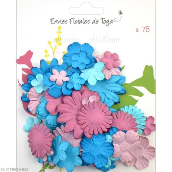 Assortiment de fleurs en papier - Bleu et aubergine - 75 pièces - Photo n°1