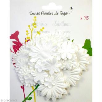 Assortiment de fleurs en papier - Blanc - 75 pièces