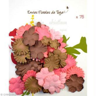 Assortiment de fleurs en papier - Rose et marron - 75 pièces