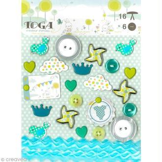 Set d'embellissements scrapbooking - Bout'chou bleu x 23