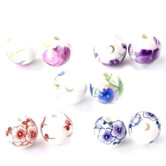 30 Perles porcelaine intercalaire Céramique Motif 12 mm