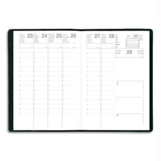 Semainier Eco août à août 1 semaine sur 2 pages avec notes, format 16 x 24 cm couverture PVC noire