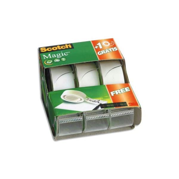 Ruban adhésif invisible Scotch Magic 810 19mm x 33m lot de 2 + 1 dévidoir - Photo n°1