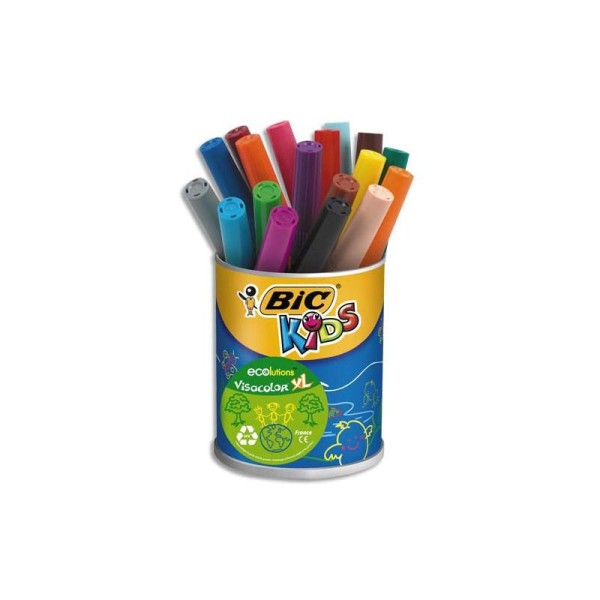 Feutre de coloriage Bic Visacolor XL pointe extra-large pot de 18 feutres dessin couleurs assorties - Photo n°1