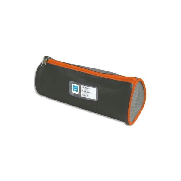 SAFETOOL Trousse écolier ronde - étiquette personnalisable - coloris gris/orange - Photo n°1