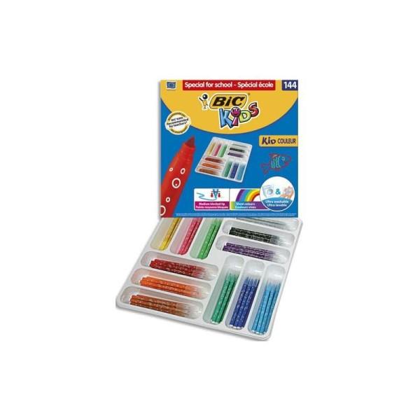 Feutre de coloriage Bic Kid pointe moyenne classpack de 144 feutres dessin couleur assortis - Photo n°1