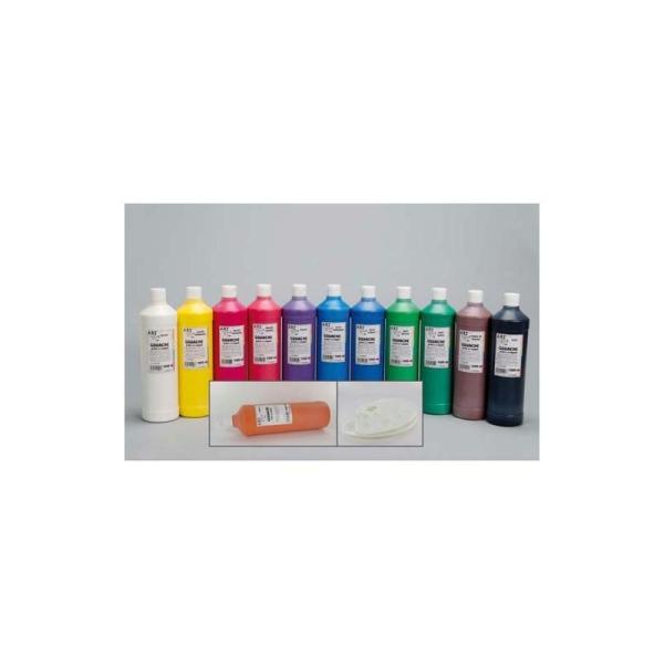 Gouache scolaire Art Plus liquide 1 litre couleurs assorties pack de 12 + 2 palettes offertes - Photo n°1