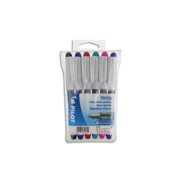 Stylo plume Pilot V-Pen jetables 6 couleurs d'encre pochette de 6 - Photo n°1