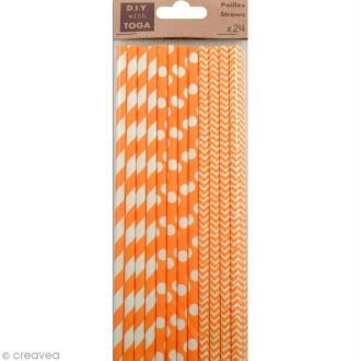 Pailles 19,5 cm - Orange - 24 pcs