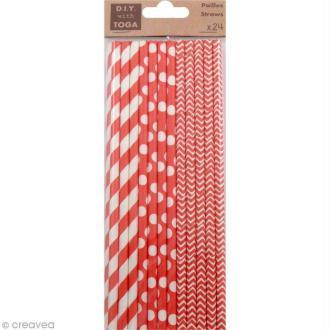 Pailles 19,5 cm - Rouge - 24 pcs