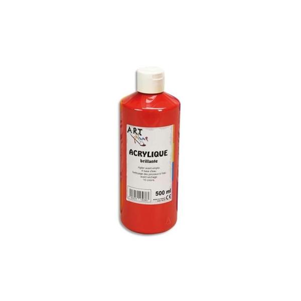 Gouache acrylique Art Plus brillante couleur rouge vif flacon 500 ml - Photo n°1