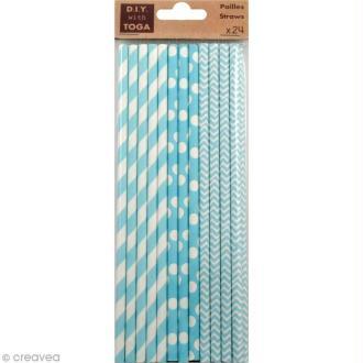 Pailles 19,5 cm - Bleu - 24 pcs