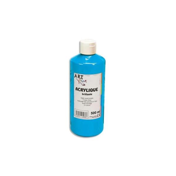 Gouache acrylique Art Plus brillante couleur bleue primaire flacon 500 ml - Photo n°1