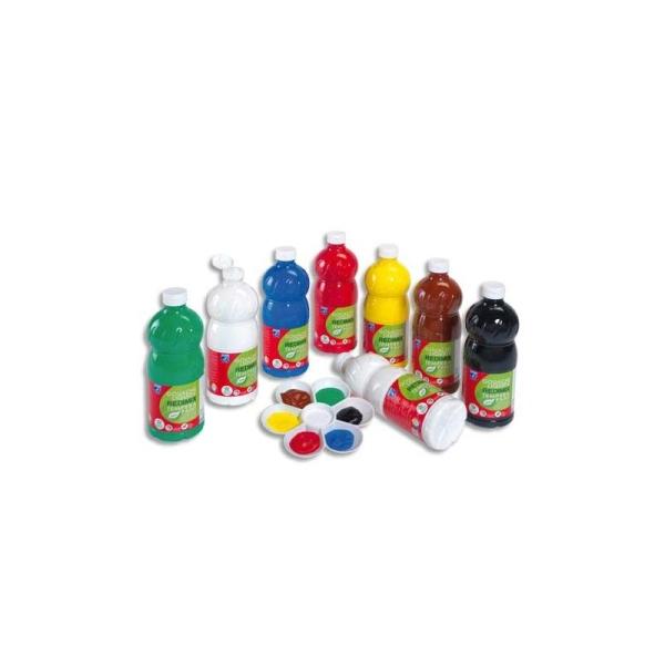 Gouache scolaire Lefranc & bourgeois flacon 1 litre liquide couleurs assorties pack de 8 - Photo n°1