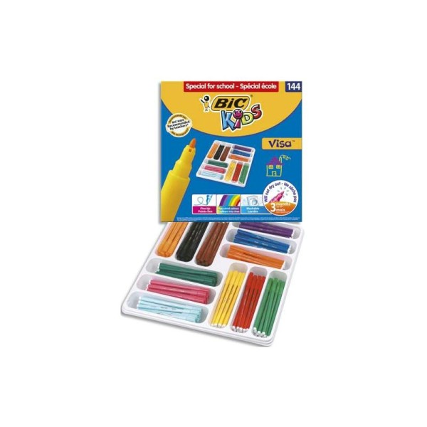 Feutre de coloriage Bic Visa pointe fine classpack de 144 feutres dessin 12 couleurs assorties - Photo n°1