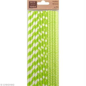 Pailles 19,5 cm - Vert - 24 pcs