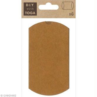 Boîte cadeau à décorer 10,5 cm - kraft - 6 pcs