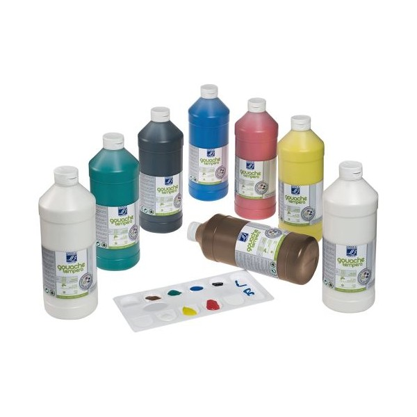Gouache scolaire Lefranc bourgeois flacon 1 litre liquide couleurs assorties pack de 8 - Photo n°1