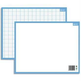 CBG Ardoise blanche contour bleu format 21X26,5 cm recto Seyès verso uni effaçable à sec