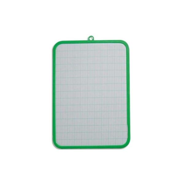 Ardoise blanche SAFETOOL en plastique 19 x 26 cm, 1 face unie, 1 face séyès, effaçable à sec - Photo n°1
