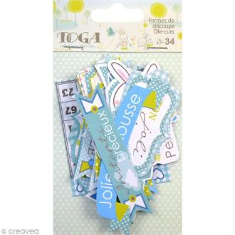 Die cut Toga Messages - Bout'Chou bleu - 34 pcs