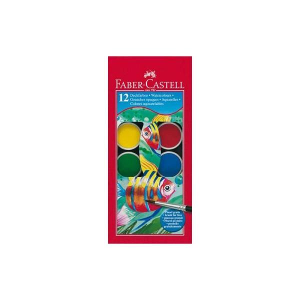FABER CASTELL Boite plastique de 12 pastilles de peinture gouaches + 1 pinceau - Photo n°1
