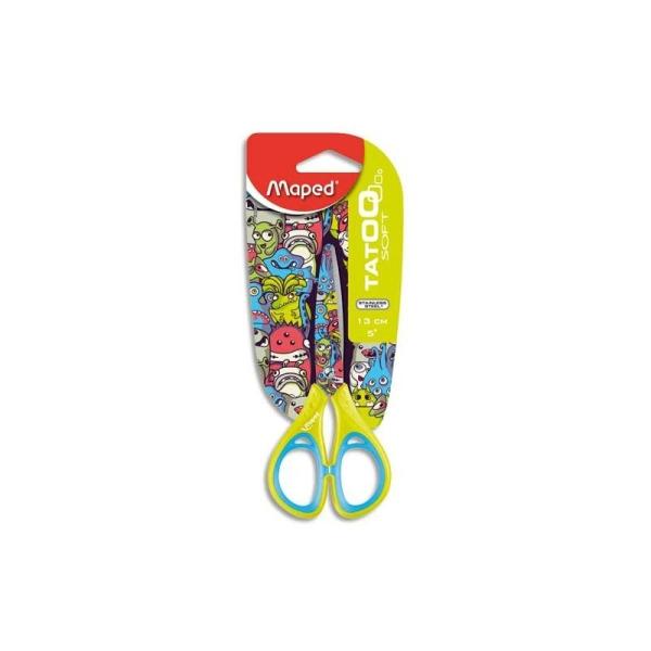 Ciseaux école 13cm droitier ou gaucher pour enfant lame inox et décorée. Décors assortis Maped Tatoo - Photo n°1