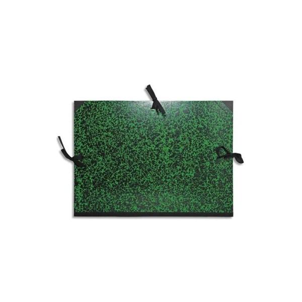 EXACOMPTA Carton à dessin Annonay avec 3 paires de cordons marbré vert - Photo n°1
