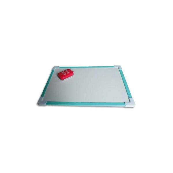SAFETOOL Ardoise blanche magnétique avec cadre plastique aimanté + une mini brosse magnétique - Photo n°1