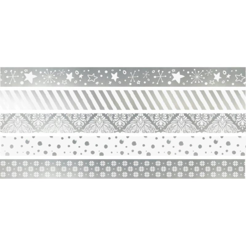 rubans d coratifs adh sifs mini argent masking tape motif creavea. Black Bedroom Furniture Sets. Home Design Ideas