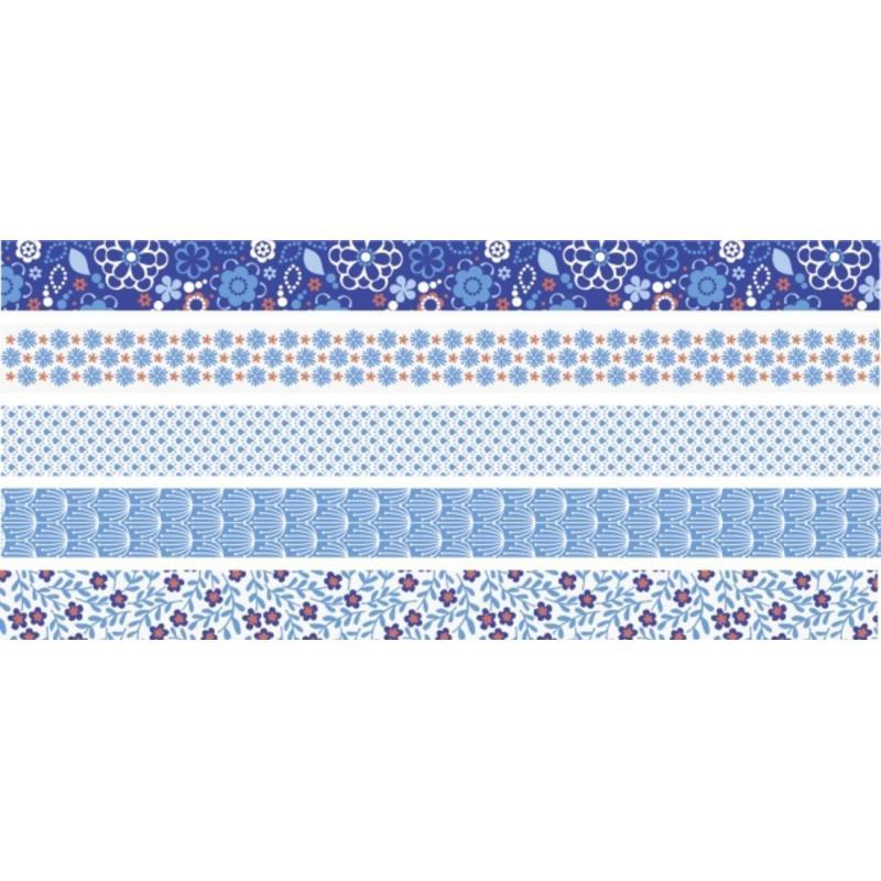 rubans d coratifs adh sifs mini bleu masking tape motif creavea. Black Bedroom Furniture Sets. Home Design Ideas