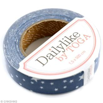 Masking tape tissu - Bleu et blanc - Etoiles - Daily Like x 5 m