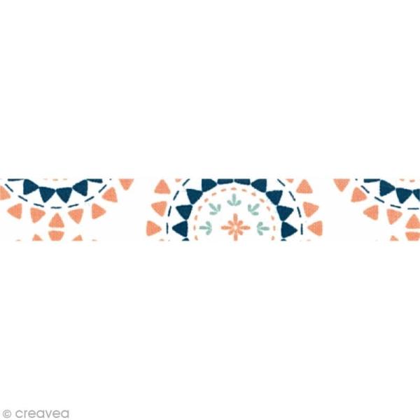 Masking tape tissu - Blanc et rose - Triangles - Daily Like x 5 m - Photo n°2