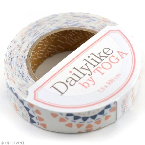 Masking tape tissu - Blanc et rose - Triangles - Daily Like x 5 m - Photo n°1