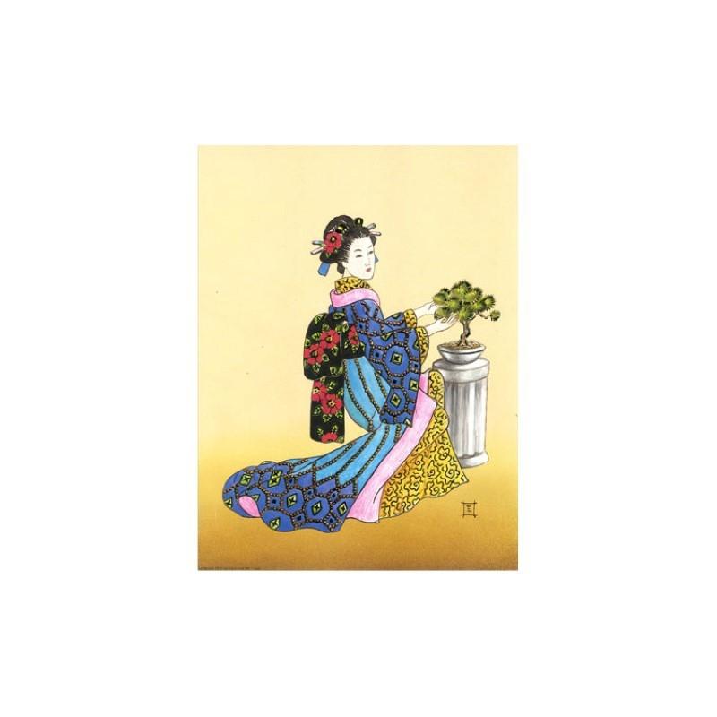 Image 3D - or 73 - 24x30 - chinoise avec bonzai - Photo n°1