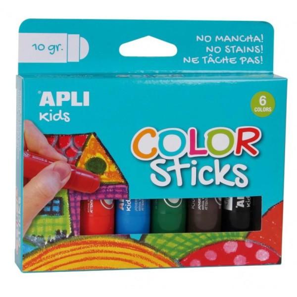 Color sticks gouache solide 6 couleurs - Photo n°1