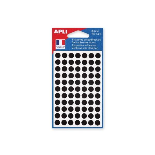 Pochette 462 etiquettes rondes noires diametre 8 mm - Photo n°1