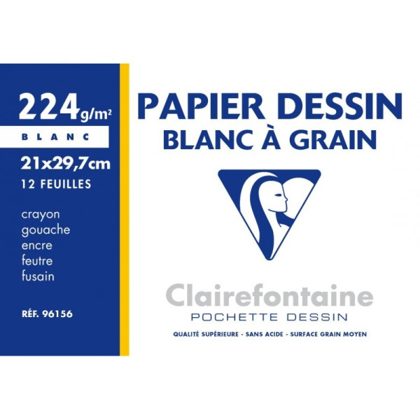 Pochette dessin à grain 21x29,7 12f 224g blanc - Photo n°1