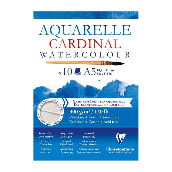 Bloc Papier Aquarelle Cardinal 300 g - 14,8 x 21 cm - 10 feuilles - Photo n°1