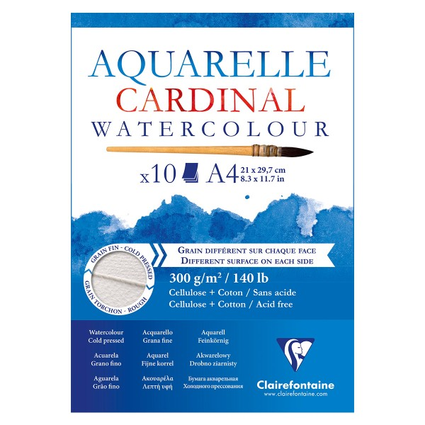 Bloc aquarelle cardinal collé 2 grains A4 10f 300g - Photo n°1
