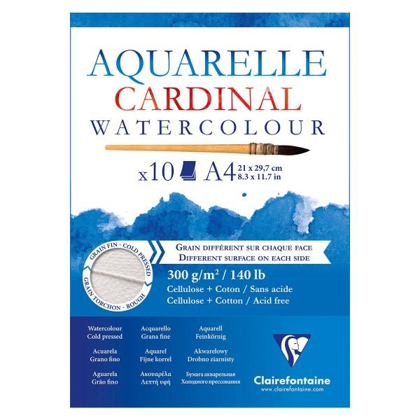 Bloc Papier Aquarelle Cardinal 300 g - 21 x 29,7 cm - 10 feuilles - Photo n°1