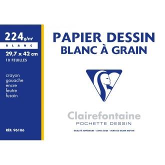 Pochette dessin à grain 29.7x42 10f 224g blanc