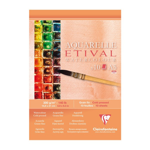 Bloc Papier Aquarelle Etival 300 g - 14,8 x 21 cm - 10 feuilles - Photo n°1