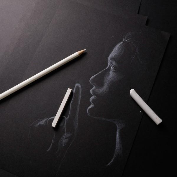 Bloc Papier Noir Carbon 120 g - 14,8 x 21 cm - 20 feuilles - Photo n°2